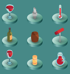 wine color isometric icons vector image vector image