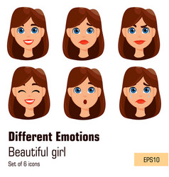 woman with different facial expressions young vector image vector image