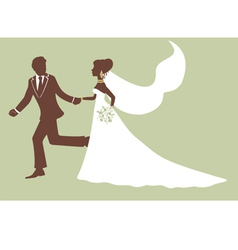 Elegant bride and groom running vector