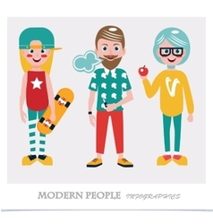 Set of cool modern people infographics vector