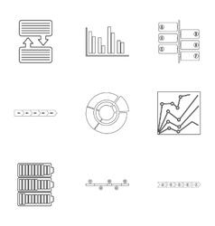 Success statistics icons set outline style vector