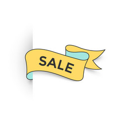 Ribbon banner with text sale for discount and vector
