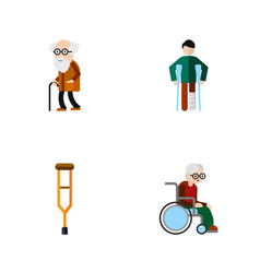 Flat icon handicapped set of injured ancestor vector