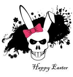Funny easter bunny skull with red bow vector