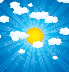Clouds sun rays and flying birds in the sky vector