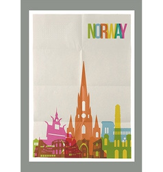 Travel norway landmarks skyline vintage poster vector