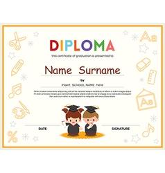 Preschool Kids Diploma certificate template vector image