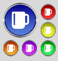 Cup coffee or tea icon sign round symbol on bright vector