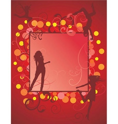 dancing girls on red backdrop vector image