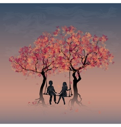 Couple on a swing between trees vector