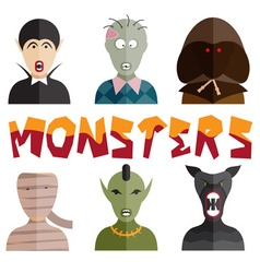 Flat design monsters icons vector