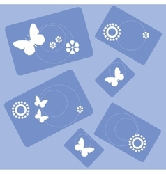 Butterfly and flowers rectangle design 001 vector