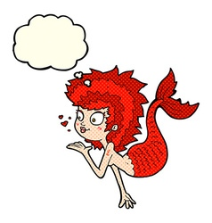 Cartoon mermaid blowing a kiss with thought bubble vector