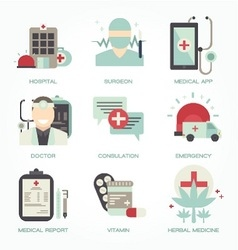 Hospital and medical flat icon set vector
