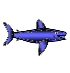 Mechanical fish shark on white vector