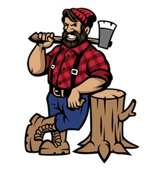 Lumberjack lean on the wood log vector