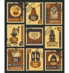 Stamps on coffee vector