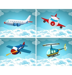 Four scenes of airplane flying in the sky vector