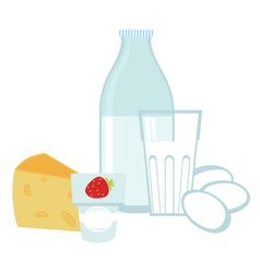 Milk products and eggs vector image