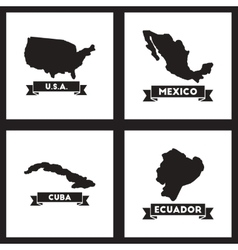 Concept flat icons black and white maps of vector