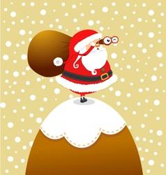 Santa on the mountain vector image