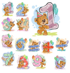 a set of with a brown teddy vector image