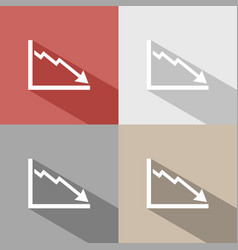 Bankruptcy chart icon with shade on colored vector