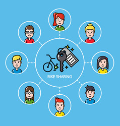 Bike sharing concept with group of people vector