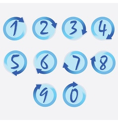 Blue circle hand written brushed numbers set vector image vector image