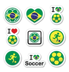 Brazilian flag football or soccer ball icons set vector image vector image
