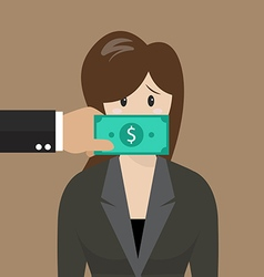 Business woman with dollar banknote taped to mouth vector