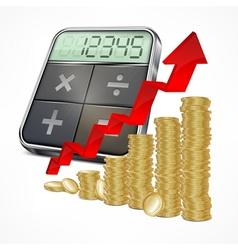 Calculator coins with arrow vector