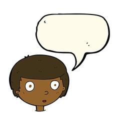 Cartoon curious boy with speech bubble vector
