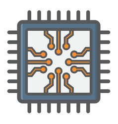 Chip colorful line icon circuit board and cpu vector