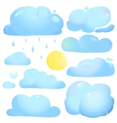Clouds sun and rain drops vector
