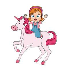 cute girl on unicorn cartoon vector image