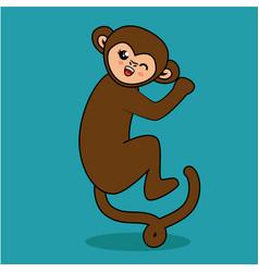 Cute monkey style kawaii vector