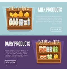 Dairy products templates with supermarket shelves vector