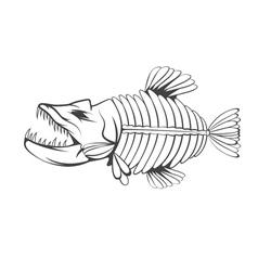 Design template of aggressive tropical fish vector