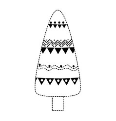 Dotted shape ethnic natural tree with ornamental vector