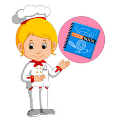 Girl chef with cookbook vector