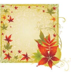 grunge background with autumn leafs t vector image vector image