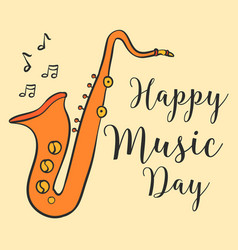 Happy music day greeting card collection vector