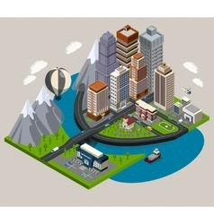 Isometric City Concept vector image