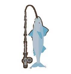 Mackerel fish sea life fishing rod vector