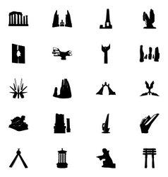 Monuments icons 5 vector