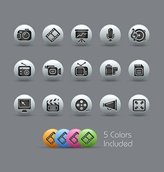 Multimedia icons pearly series vector