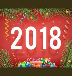 new year 2018 symbol icon confetti ribbons vector image vector image
