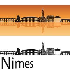 Nimes skyline in orange background vector