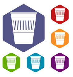 Plastic office waste bin icons set hexagon vector